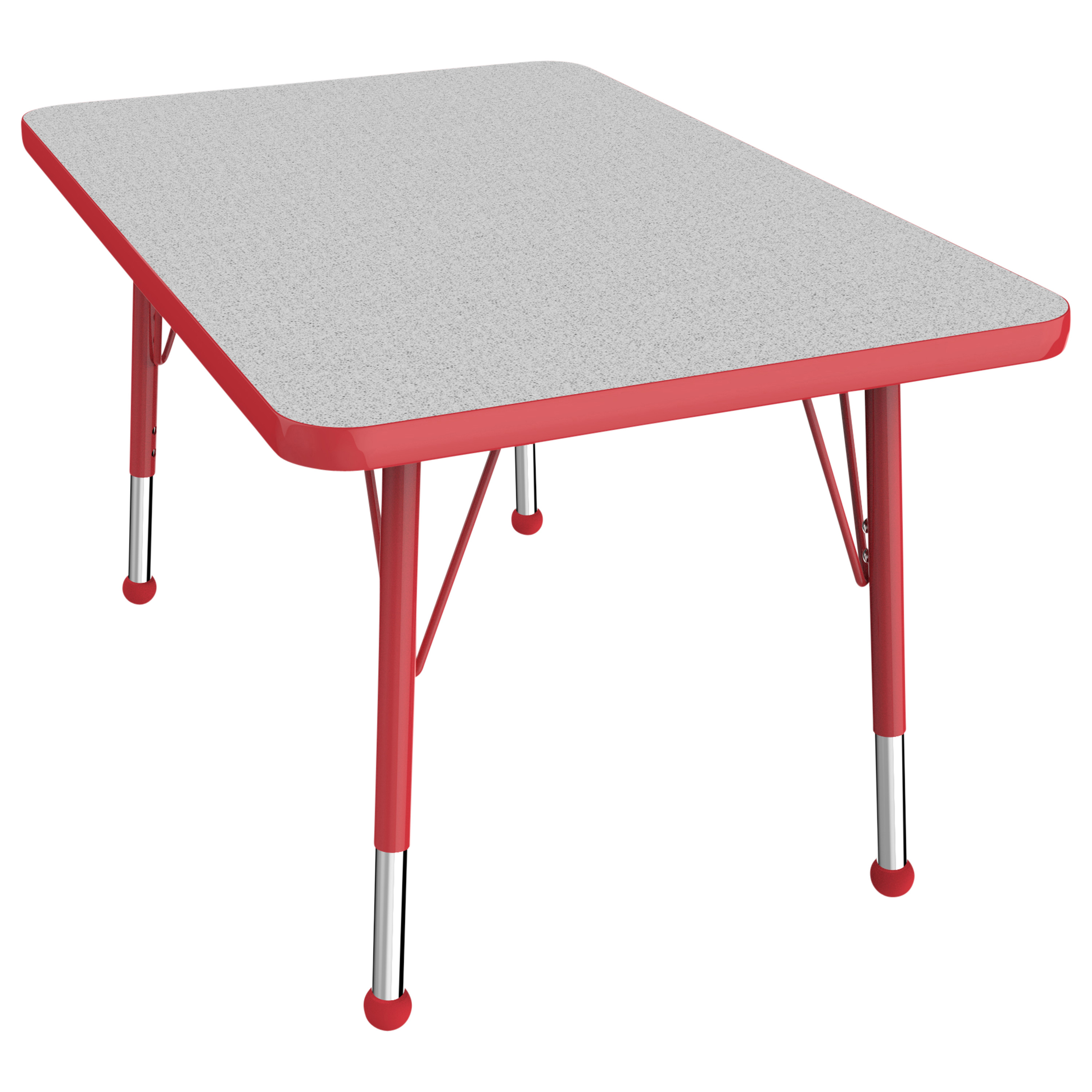 ECR4Kids 24in x 36in Rectangle Everyday T-Mold Adjustable Activity Table Maple/Red - Toddler Swivel
