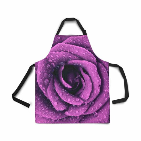 ASHLEIGH Adjustable Bib Apron for Women Men Girls Chef with Pockets Purple Dark Rose Floral Natural Flower Water Novelty Kitchen Apron for Cooking Baking Gardening Pet Grooming Cleaning ()