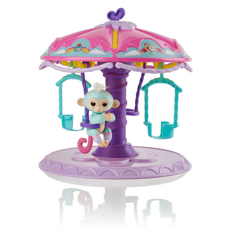 "Fingerlings Playset: Twirl-a-Whirl Carousel with 1 Fingerlings Baby Monkey - ""Abigail"" (Light blue with pink glitter) - by WowWee"