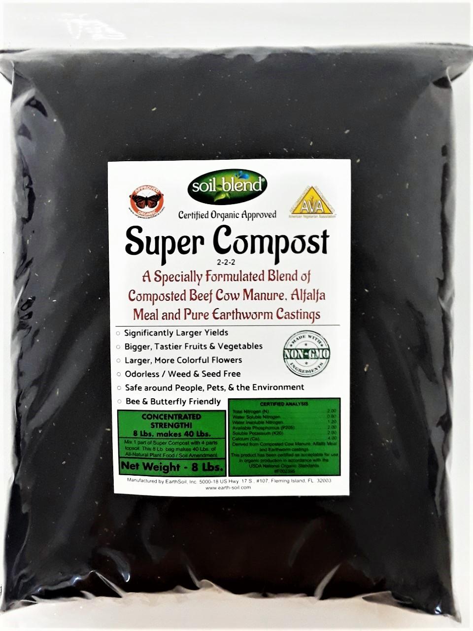 Super Compost 8 Lb. Bag makes 40 Lbs. Organic Fertilizer, Planting Mix, Plant Food, Soil Amendment. A Special Blend of Worm Castings, Composted Beef Cow Manure & Alfalfa 2-2-2 NPK + Calcium, Iron.