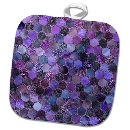 3dRose Trendy Purple Feminine Faux Glitter Honeycomb Hexagon Pattern - Pot Holder, 8 by 8-inch
