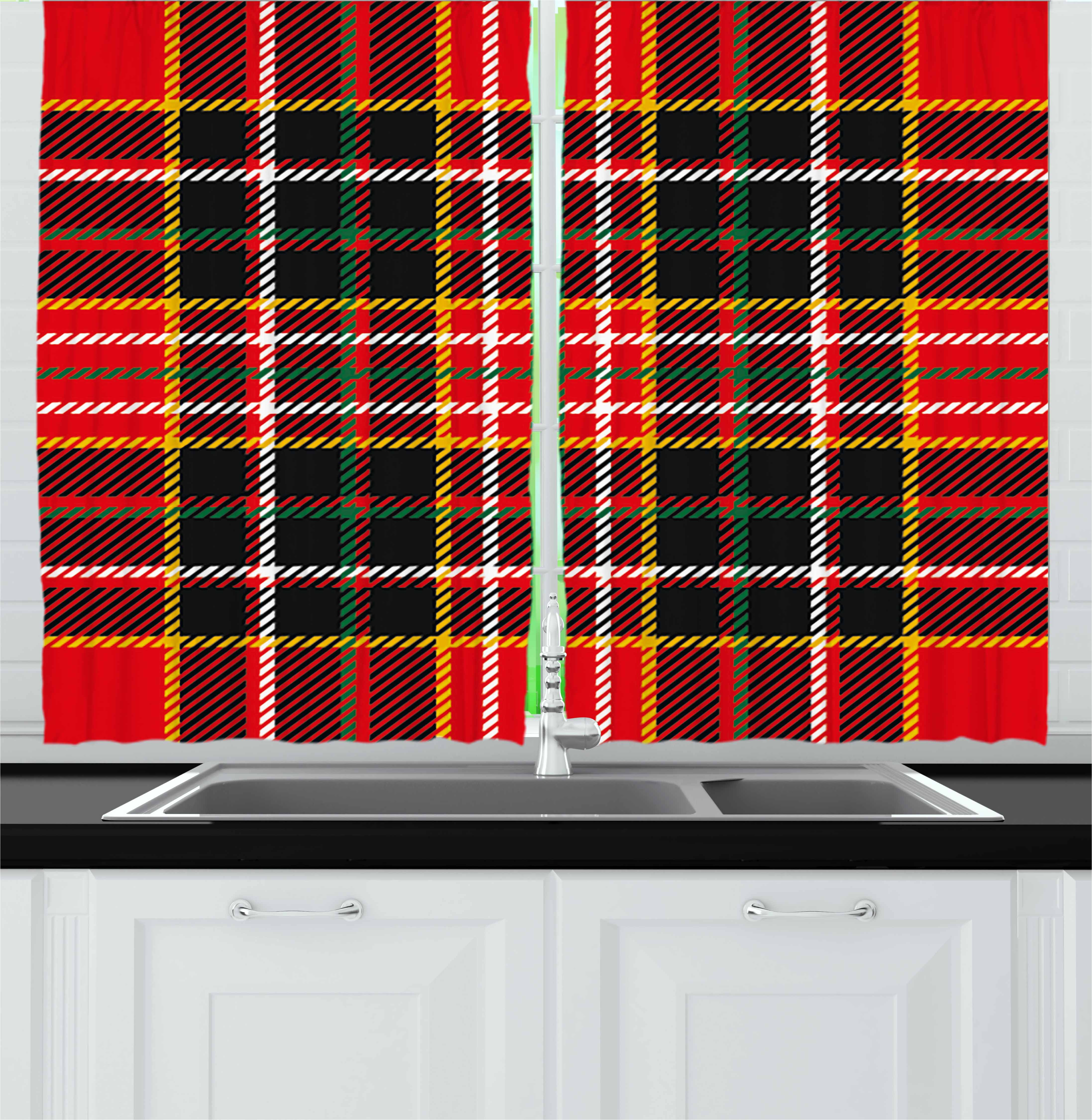 Red Plaid Curtains 2 Panels Set, Vertical and Horizontal Lines Tartan Backdrop Scottish Culture Inspired Pattern, Window Drapes for Living Room Bedroom, 55W X 39L Inches, Multicolor, by Ambesonne