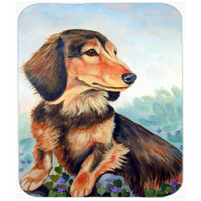 9.5 x 8 in. Dachshund chocolate and tan Long Haired Mouse Pad, Hot Pad or Trivet