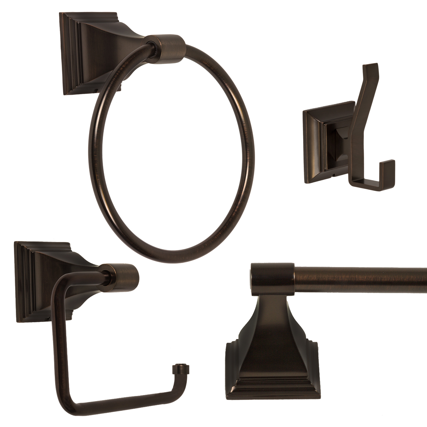 "4 Piece Bathroom Hardware Accessory Set with 24"" Towel Bar Oil Rubbed Bronze by"