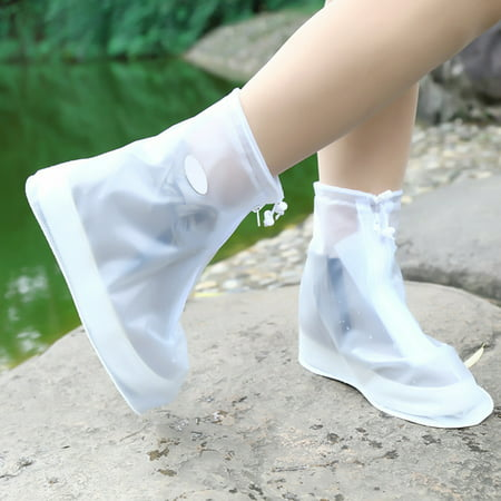 Waterproof Shoes Cover Reusable Rain Snow Boots Wear-resistant Slip-Resistant Overshoes Covers for Men & Women Color:White (Best Cycling Overshoes For Rain)