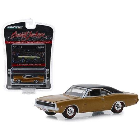 """1968 Dodge Charger R/T HEMI (Lot #1310.1) Brown w/Black Top """"Barrett Jackson"""" 1/64 Diecast Model Car by Greenlight"""