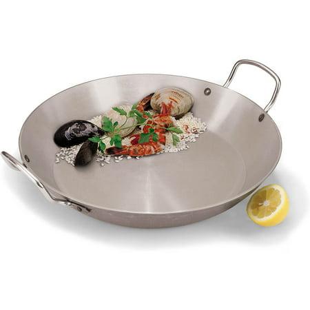 World Cuisine Stainless Steel Paella Pan - Paderno World Cuisine Carbon Steel Paella Pan, 19.62