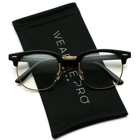 Vintage Inspired 80s Half Frame Clear Lens Hipster Nerd Glasses - Clear Nerd Glasses