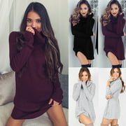 Womens Autumn Winter Long Sleeve Knit BodyCon Party Sweater Short Mini Dress New