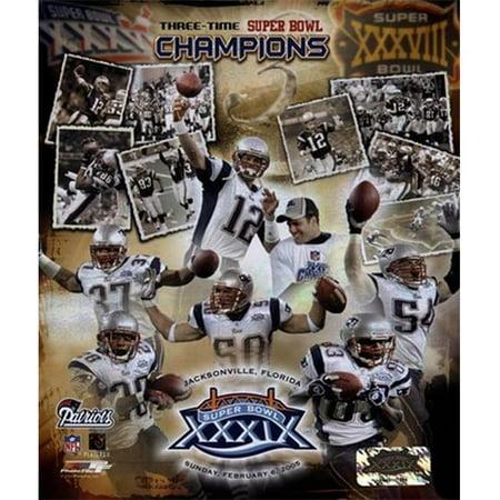 Photofile Pfsaago03101 Patriots   3 Time Super Bowl Champions Composite Sports Photo   8 X 10