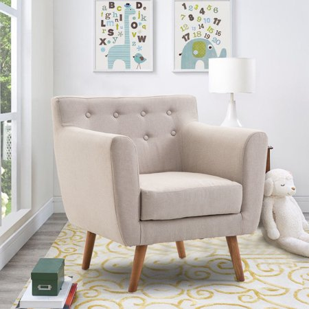 Gymax Arm Chair Tufted Back Fabric Upholstered Accent