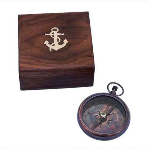 Handcrafted Nautical Decor Decorative Lensatic Compass with Rosewood Box (Set of 2)