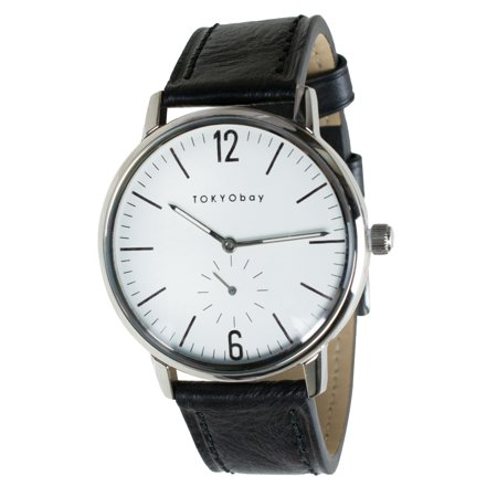 Tokyo Bay Unisex Grant Black Leather Strap White Dial Round Watch - T337-BE/BK