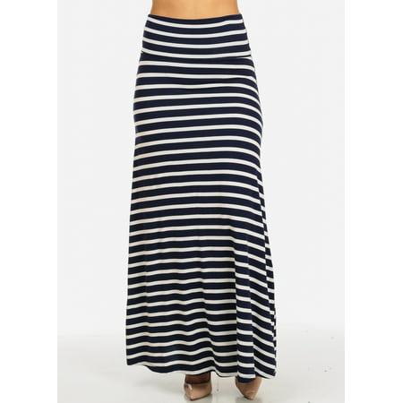 fef542c62aa0 Womens Juniors Stylish Navy and White High Waist Pull On Stripe Print Maxi  Skirt 30040J - Walmart.com