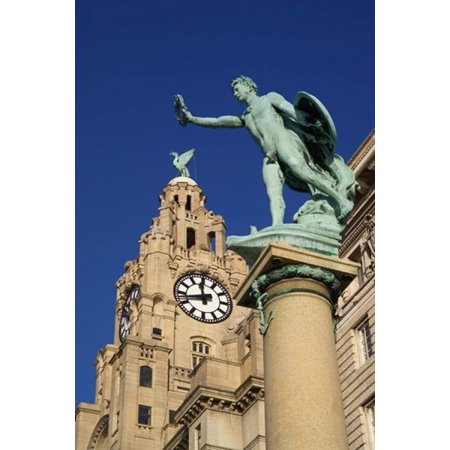 Liver Building and Statue Liverpool Merseyside England Poster Print by Paul Thompson