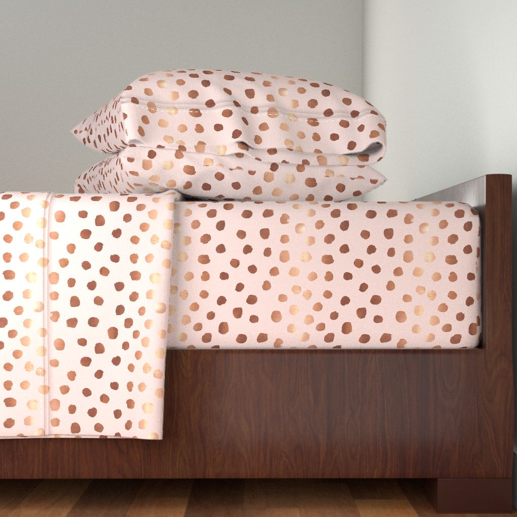 Pink Dots Dot Rose Gold Copper Metallic 100% Cotton Sateen Sheet Set by Roostery