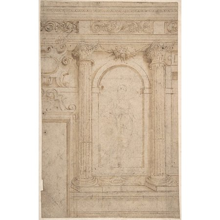 Architectural Design with Two Columns and Figure Poster Print by Anonymous Italian 17th century (18 x 24) ()