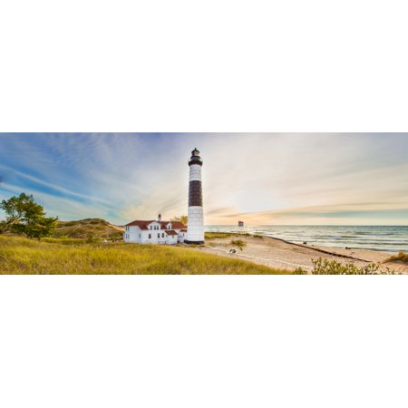 Lighthouse on the coast Big Sable Point Lighthouse Lake Michigan Ludington Mason County Michigan USA Canvas Art - Panoramic Images (7 x 18)
