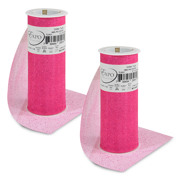 """Expo Int'l Pack of 2 Glitter Tulle Spool 6"""" x 10 Yards"""