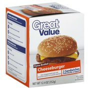 Great Value Flame-Broiled Cheese Burgers, 6.2 oz, 2 count