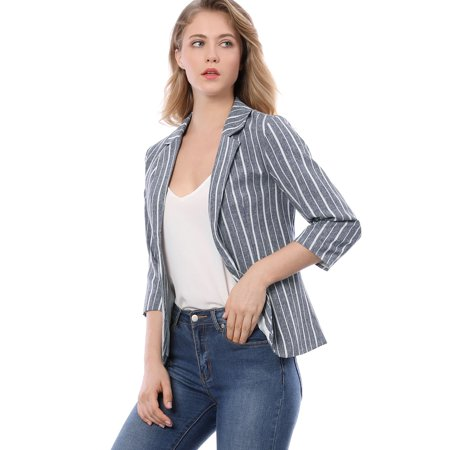 Lined Notched Collar Blazer - Women's Striped 3/4 Sleeves Open Front Notched Lapel Blazer