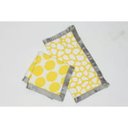 Bacati - Ikat Dots/Giraffe Muslin 2-Piece Security Blankets with Sateen Trim, Yellow/Gray