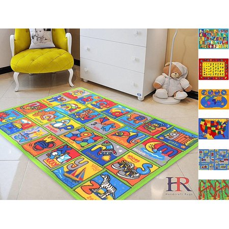 Handcraft Rugs - Great for Playing with Cars and Toys Play Learn and Have Fun Safely Kids Rug Carpet Educational/Play Time Green and Multi Color/ Anti-slip ABC Example Approximately 8 - Light Green Multi Rug