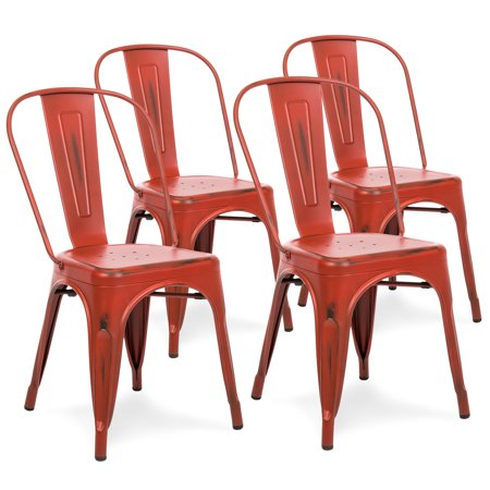 Best Choice Products Set of 4 Distressed Industrial Metal Dining Side Chairs (Red) ()