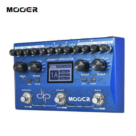 MOOER OCEAN MACHINE Premium Dual Delay + Reverb + Looper Multi-effects Pedal 15 Types of Delay Effects 9 Reverb Effects 44s Recording Time Tap Tempo (Delay Reverb Pedal)