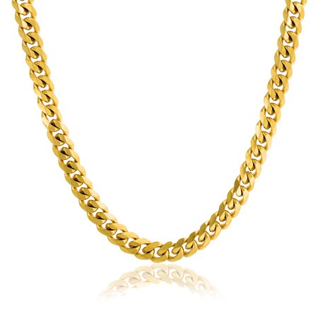 Mens Strong 8MM Gold Tone Stainless Steel Miami Curb Cuban Chain Necklace For Men For Teen 20 24 30 Inch