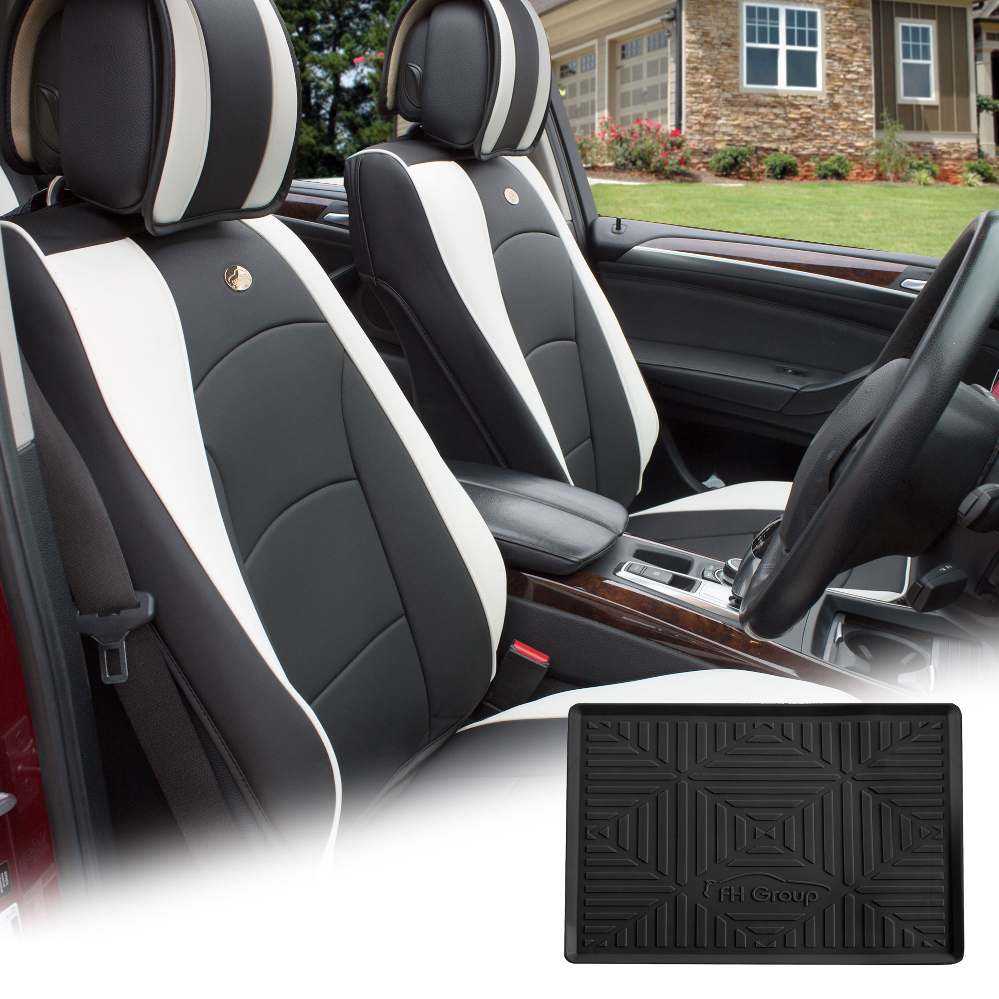 FH Group Black White PU Leather Front Bucket Seat Cushion Covers for Auto Car SUV Truck Van with Black Dash Mat Combo