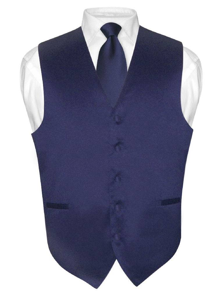 Men's Dress Vest & NeckTie Solid NAVY BLUE Color Neck Tie Set for Suit or Tux
