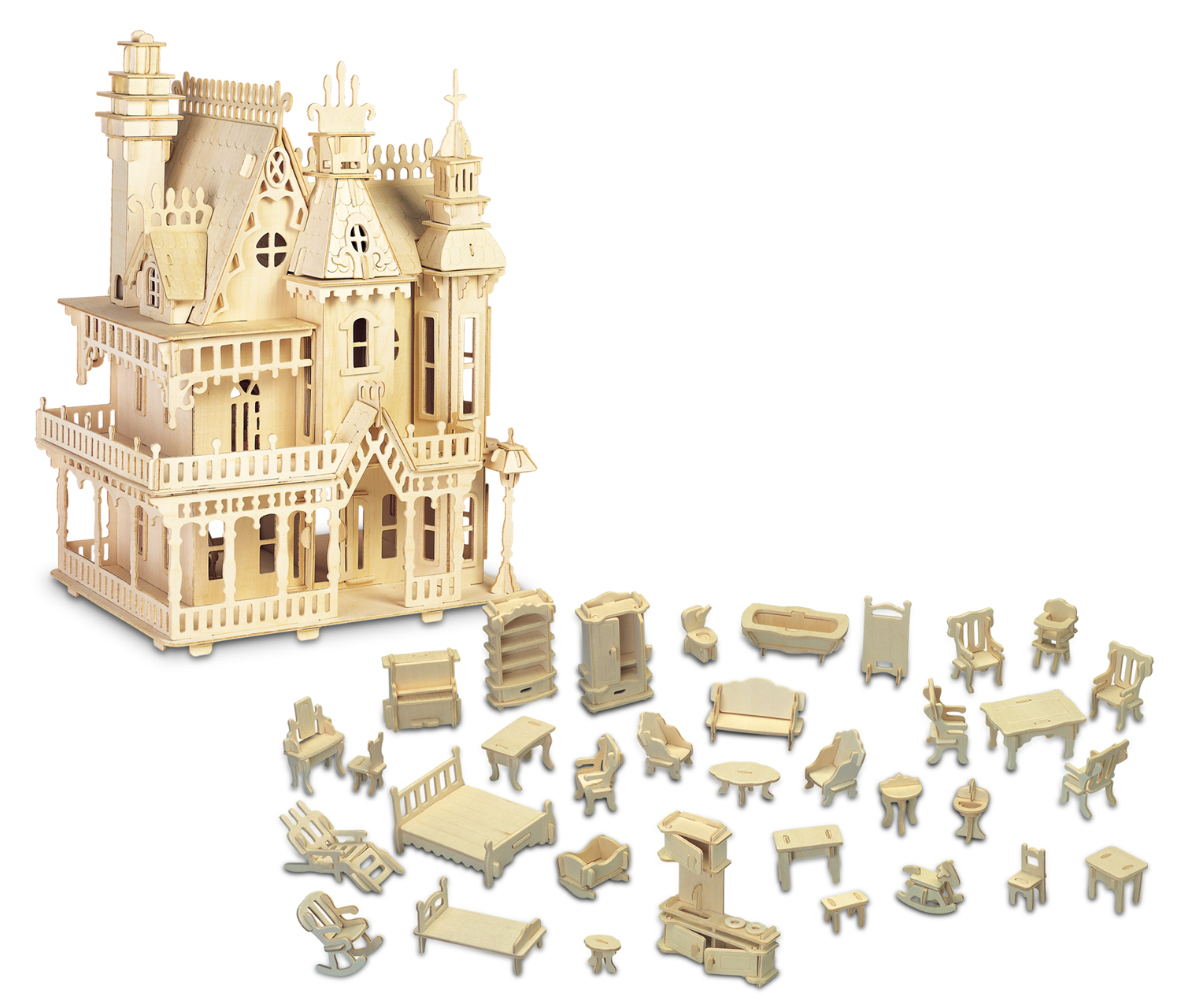 Click here to buy Puzzled Furniture Set and Fantasy Villa Wooden 3D Puzzle Construction Kit by Puzzled Inc.