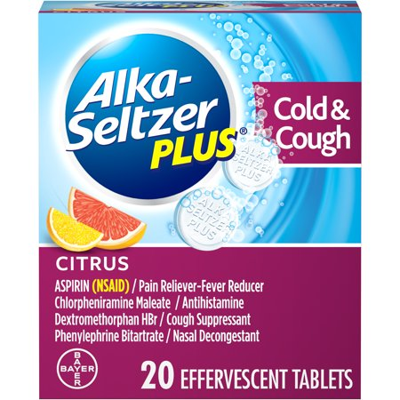 Alka-Seltzer Plus Cold & Cough Medicine, Citrus Effervescent Tablets, 20