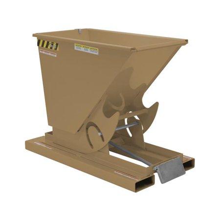 Vestil Manufacturing D-25-MD-BRN-KT 0.25 cu. Yards, 4000 lbs Medium Duty Self-Dumping Steel Hopper - Khaki Tan