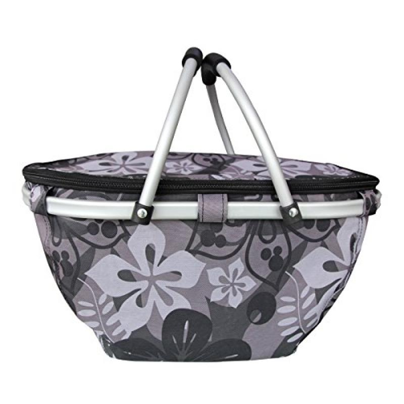 Bebone Foldable Flower Picnic Basket Insulated Cooler Basket (Dark Grey)