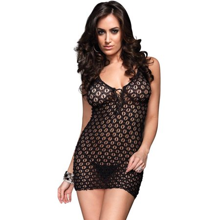 Women's Sexy Stretch Lace Mini Dress and G-String Panty 2 Piece Set