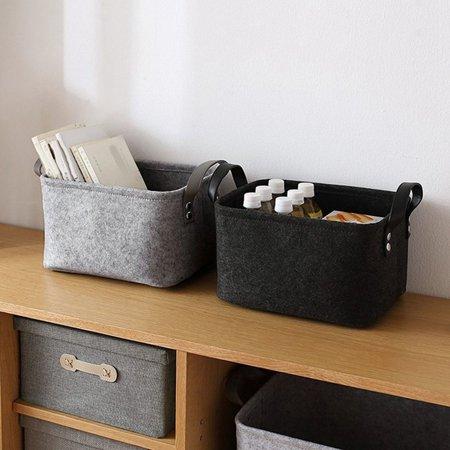 Brand New Desktop Felt and Other Storage Bags Foldable Laundry Basket Felt Storage Bucket Black Grey Household - image 6 de 6