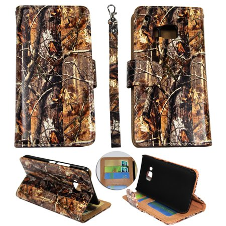 Camo Brown Oak Wallet Folio Case for HTC One M9  Fashion Flip PU Leather Cover Card Slots &