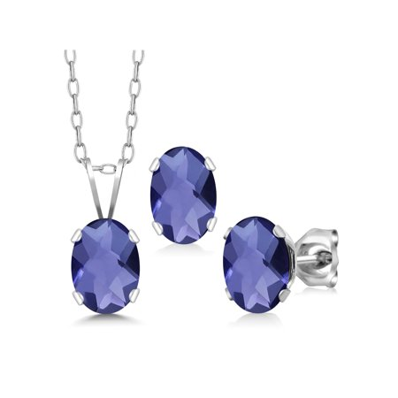 Iolite Set - 1.95 Ct Oval Checkerboard Blue Iolite 925 Silver Pendant Earrings Set With Chain
