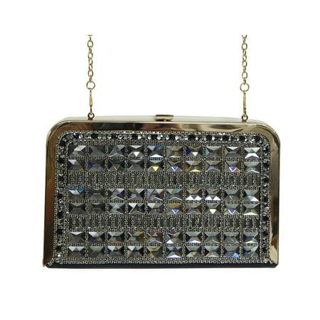 Beaute Bags Large Slim Grid Box Clutch Crystal Clutch Evening Bag with Detachable Shoulder Strap (Black (Crystal Evening Box)
