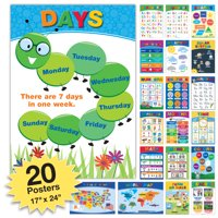20 Extra Large Educational Kids Posters (24x17 Double Sided English and Spanish) - GPP-0032