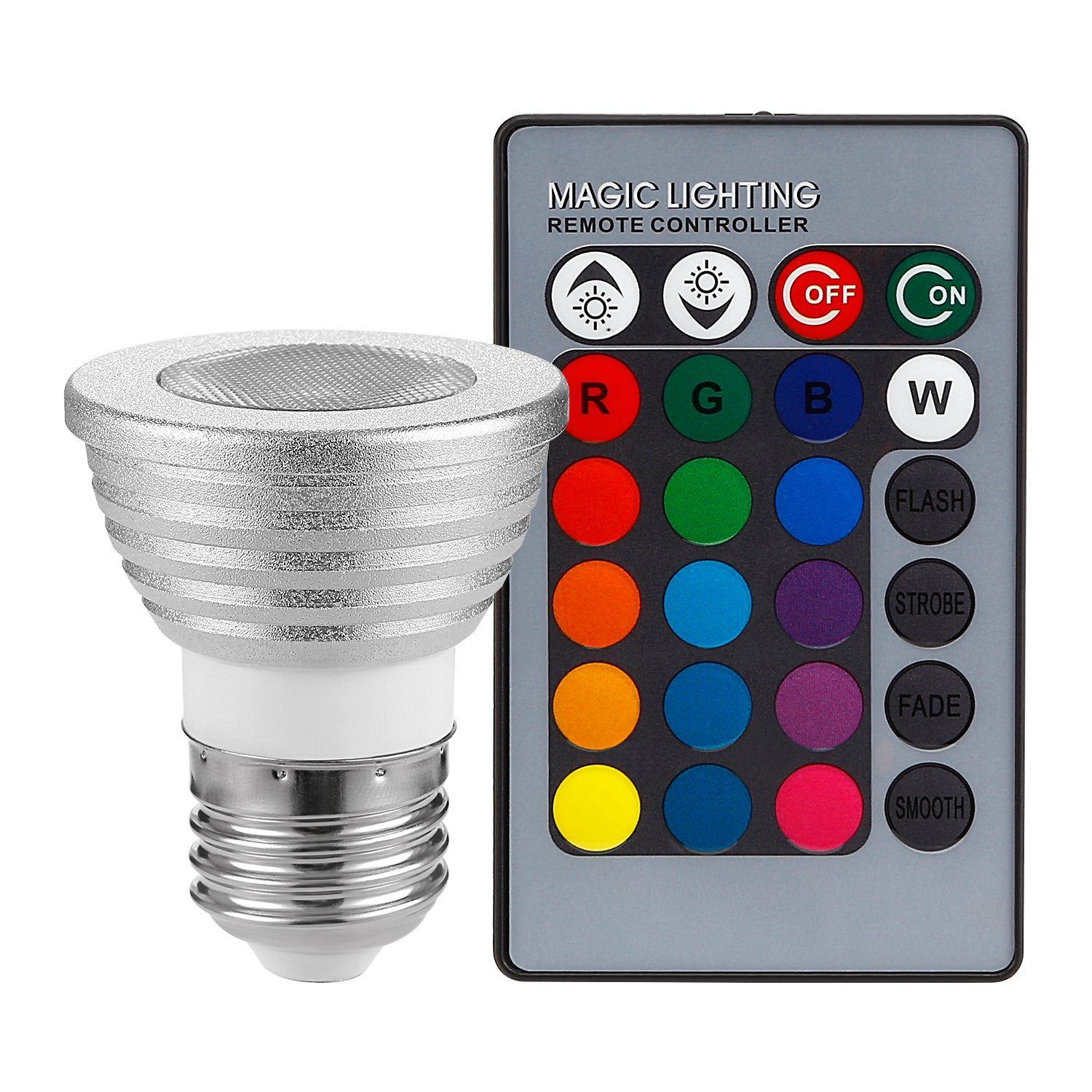 TORCHSTAR RGB Color Changing LED Spotlight Bulb Kit, 3W Multi-Color LED E26 Light Bulb + IR Remote Controller, for Home, General, Decorative, Accent Lighting - Silver