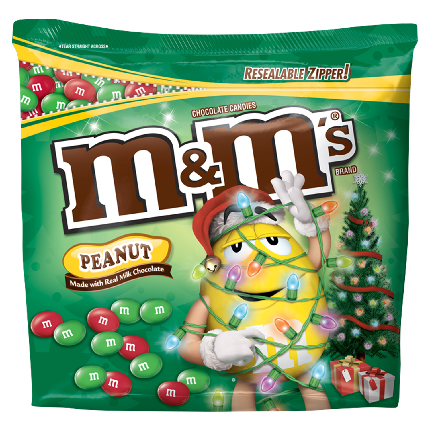M&M'S Holiday Peanut Chocolate Candy Party Size Bag, 42 oz