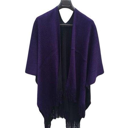 Women Winter Knitted Cashmere Poncho Capes Shawl Cardigans Sweater Coat ()