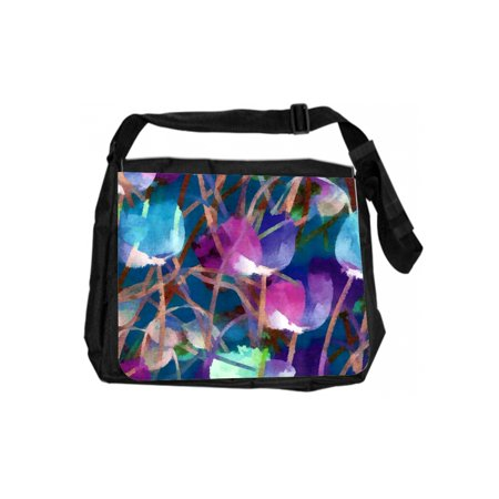 Floral Abstract Tulip Cross Body Shoulder Messenger Laptop Bag