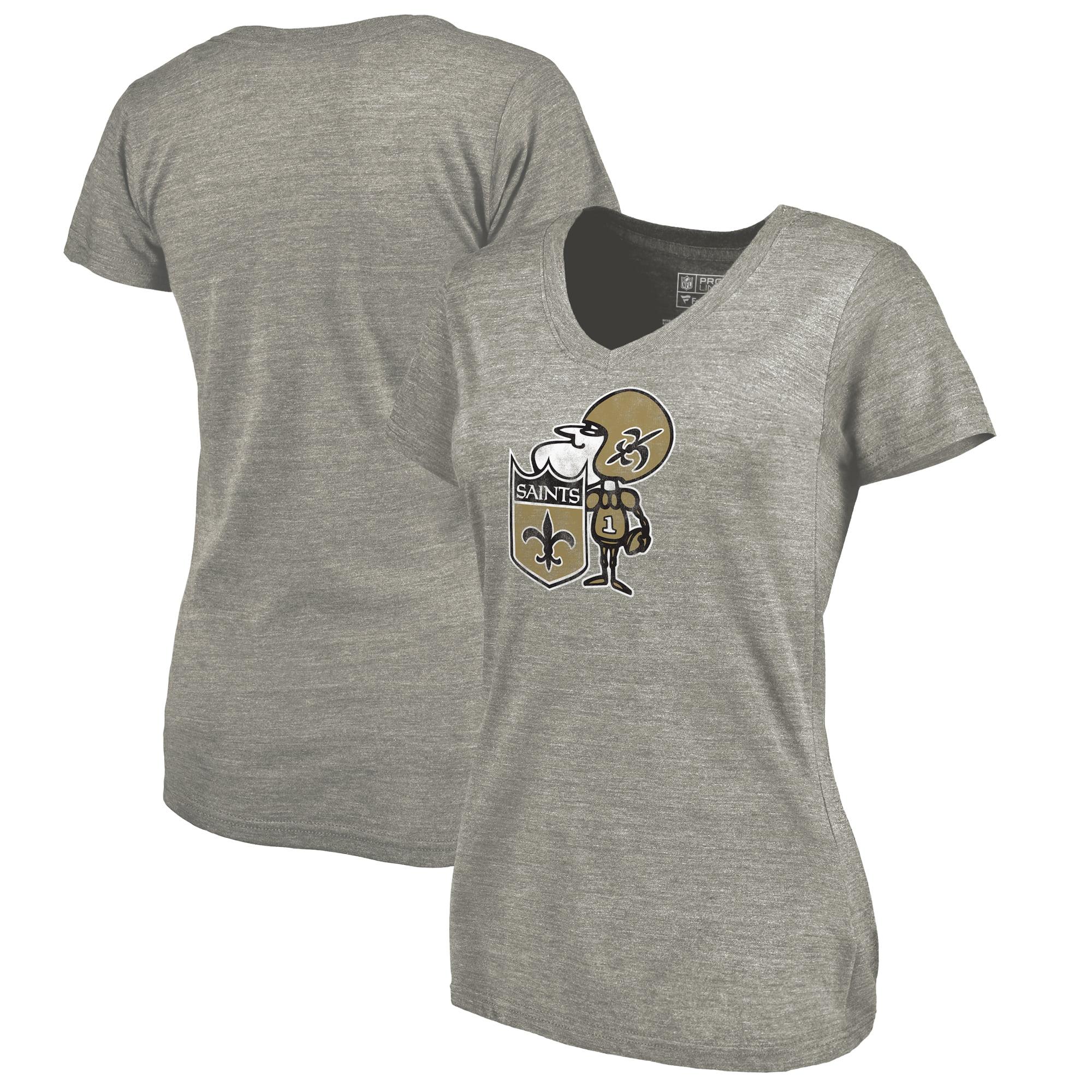 New Orleans Saints NFL Pro Line by Fanatics Branded Women's Throwback Logo Tri-Blend V-Neck T-Shirt - Ash