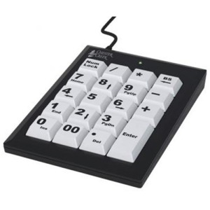 Ergoguys Ablenet Chester Numeric Keypad Large Key Wired Usb Black w/ White Keys