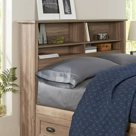 Better Homes & Gardens Lafayette Bookcase Headboard, Washed Oak Finish