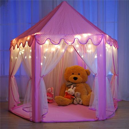 Kids Play Tent Princess Castle with LED Light ,Super Fantasy Pink Princess Castle Playhouse Canopy Tent Indoor and Outdoor Fun